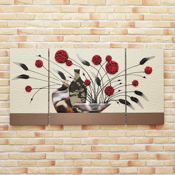 BnH 레드 플라워 거실 인테리어액자 꽃그림 3P 0008
